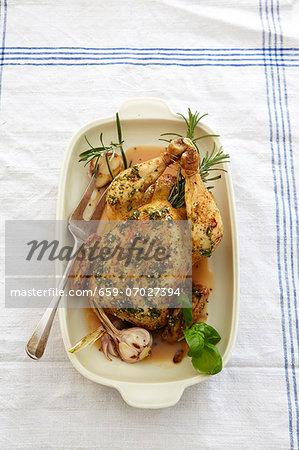 Roast chicken with garlic and rosemary