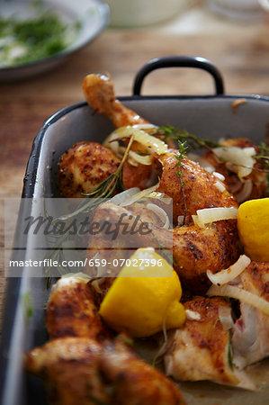 Chicken legs with garlic, lemon and herbs