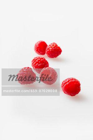 Fresh Raspberries on a White Background