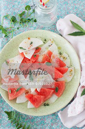Watermelon and Radish Salad with Fresh Sage