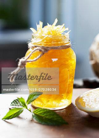 Candied Lemon Zest in a Jar