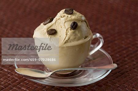 Mocha ice cream with coffee beans