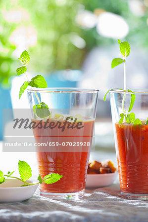 Gazpacho (cold tomato soup, Spain) in two glasses