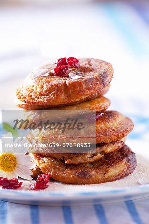 Cranberry pancakes with cranberry jam