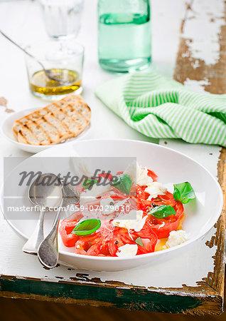 Beef steak tomatoes with mozzarella