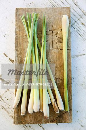 Lemon grass on a wooden board