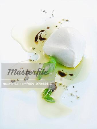 Mozzarella with basil and balsamic vinaigrette