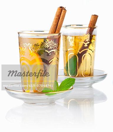 Tea Eastern-style with mint, cinnamon and orange