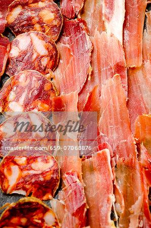 Thinly sliced Spanish Serrano ham, chorizo and lomo