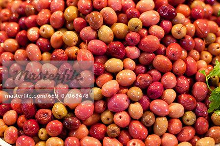 Pickled olives on a market stall