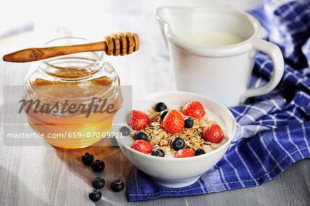 Muesli with fruits, milk and honey
