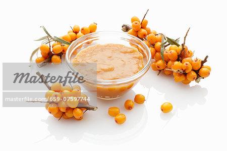 A bowl of sea buckthorn jam
