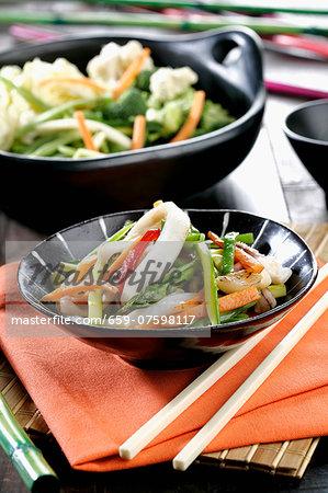 Wok vegetables with squid (vertical)