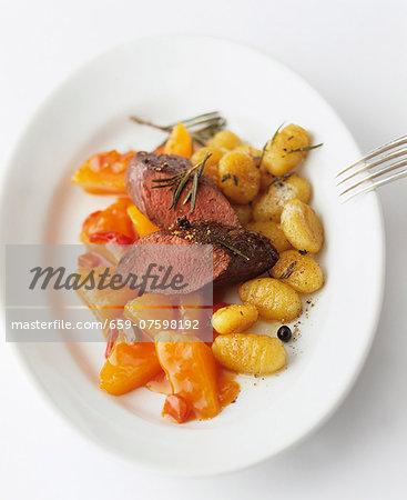 Lamb fillet with squash and gnocchi