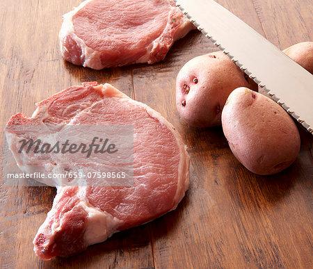 Raw Pork Chops and Potatoes