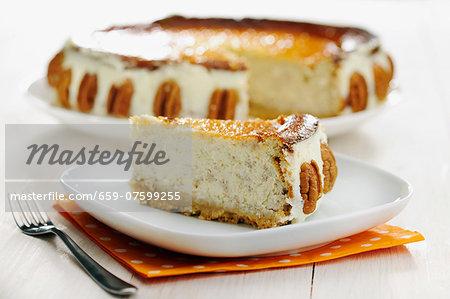 Southern Pecan Cheese Cake, selective focus
