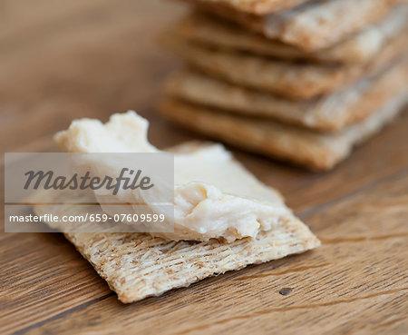 Cracker with houmous
