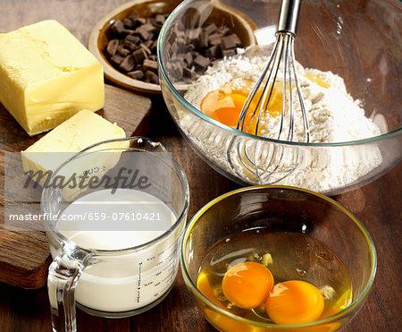 Ingredients for chocolate chip brioche