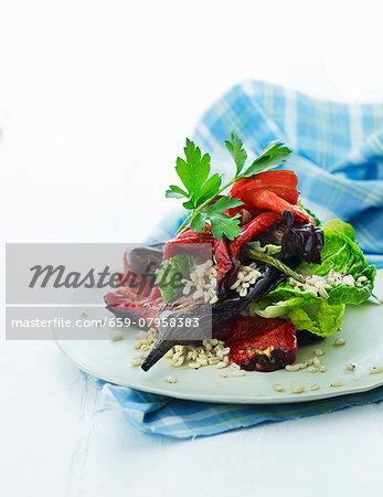 Grilled vegetable salad with barley