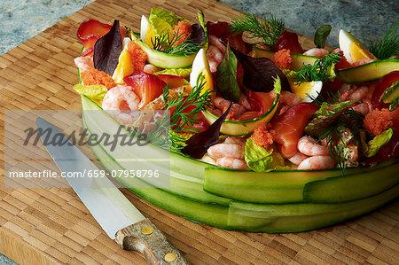 Smörgåstårta with prawns, tuna, salmon, caviar and egg