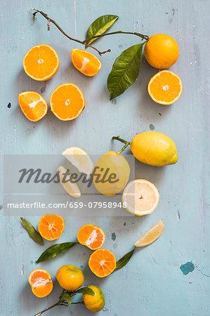An arrangement of citrus fruits