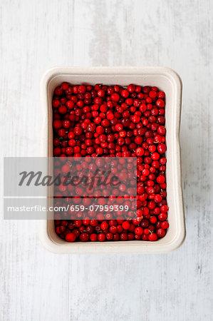 A dish of cranberries