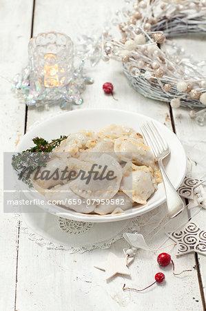 Sauerkraut and mushroom pierogi