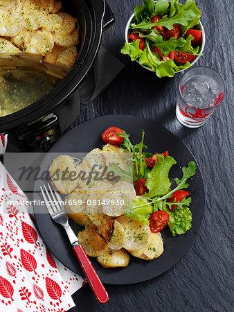 Potato and shallot bake with salad