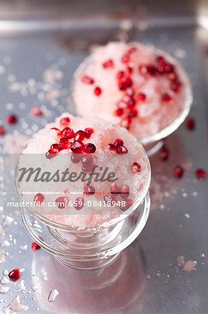 Rhubarb granita with pomegranate seeds