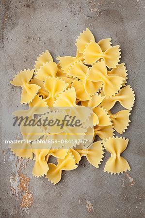 A pile of farfalle pasta