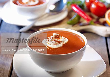 Spicy tomato soup with orange juice