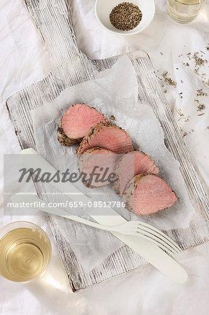 Pork fillets with a herb coating