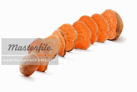 A sliced sweet potato