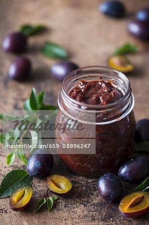 Jar of homemade plum jam