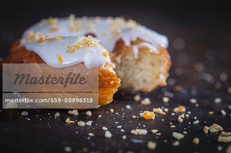 Donut with lemon glaze and candied orange
