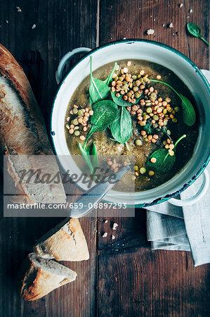 Lentill soup, green and red lentills, greek yoghurt, spinach, bread
