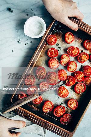 Roasted tomatoes, fresh thyme
