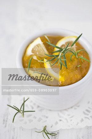 A bowl of lemon and rosemary marmalade