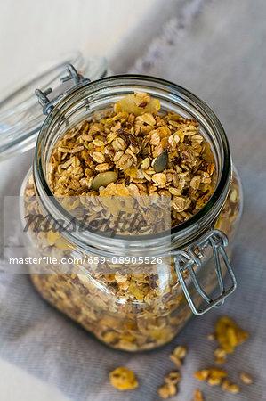 Baked muesli in a preserving jar