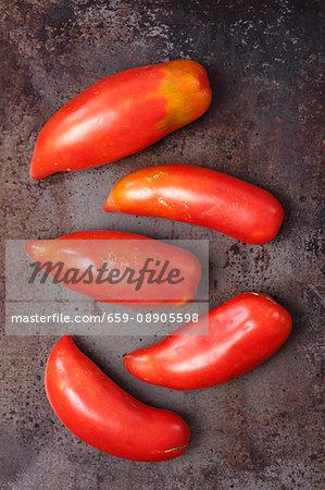Five organic Bull's Horn tomatoes