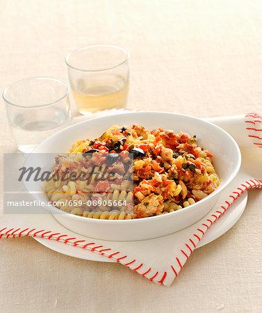 Fusilli with mackerel and lemon