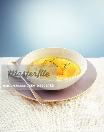 Lemon pudding with orange fillets