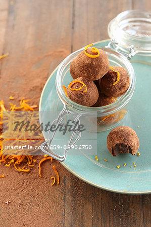 Vegan chocolate & orange truffles in a glass jar