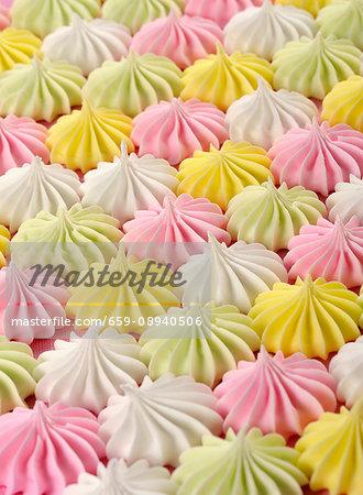 Pastel coloured meringues