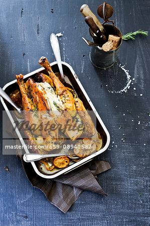 Roast chicken with garlic, herbs and lemon