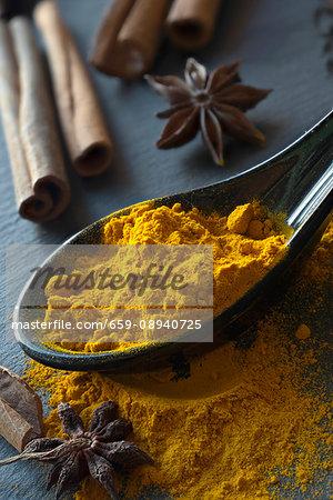 Turmeric on a spoon, star anise and cinnamon sticks