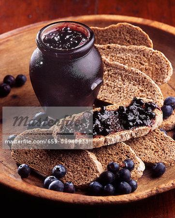 Blueberry jam on black bread