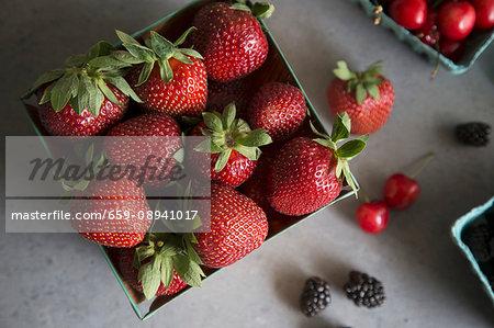 Strawberries, cherries and blackberries