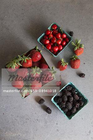 Blackberries, cherries and strawberries