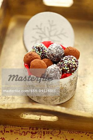 Homemade chocolate truffles for Christmas